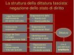 la struttura della dittatura fascista negazione dello stato di diritto