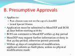 b presumptive approvals