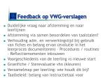feedback op vwg verslagen