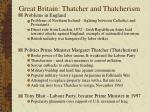 great britain thatcher and thatcherism
