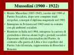mussolini 1900 1922