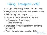timing transplant vad