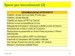 spese per investimenti 2