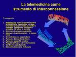 la telemedicina come strumento di interconnessione