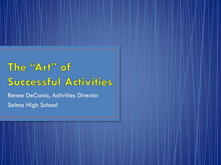 the art of successful activities n.