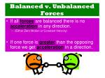balanced v unbalanced forces