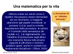 una matematica per la vita