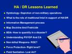 ha dr lessons learned