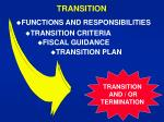 transition and or termination