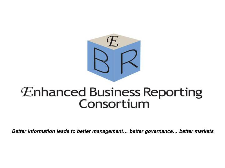 Better information leads to better management… better governance… better markets