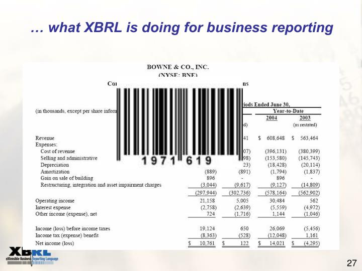 … what XBRL is doing for business reporting