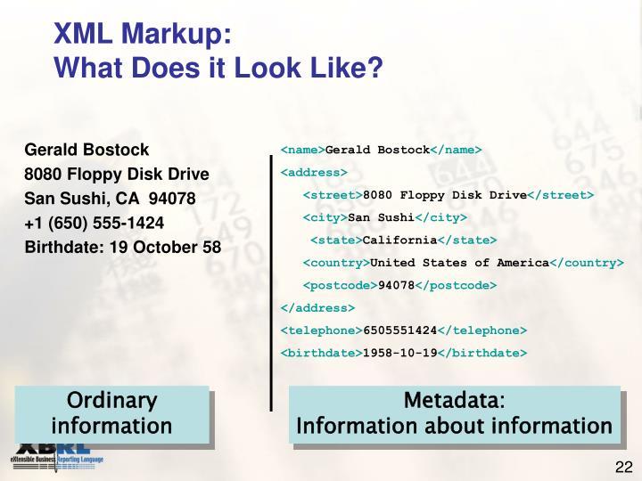 XML Markup: