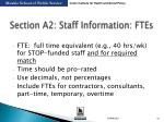 section a2 staff information ftes