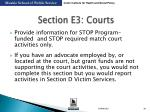 section e3 courts
