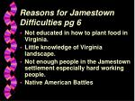 reasons for jamestown difficulties pg 6