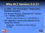 why hl7 version 2 3 1