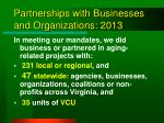 partnerships with businesses and organizations 2013