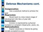 defense mechanisms cont