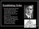 establishing order