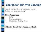 search for win win solution