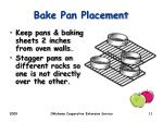 bake pan placement