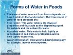 forms of water in foods