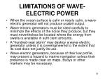 limitations of wave electric power