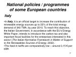 national policies programmes of some european countries