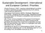 sustainable development international and european context priorities