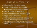 stalin s five year plan