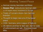 working toward peace