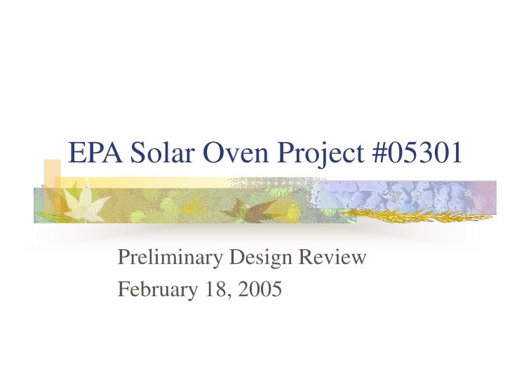 epa solar oven project 05301 n.