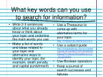 what key words can you use to search for information