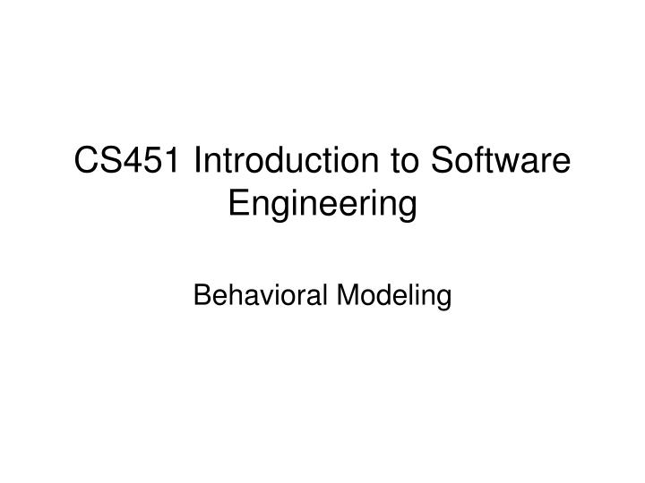 cs451 introduction to software engineering n.