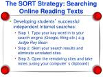 the sort strategy searching online reading texts