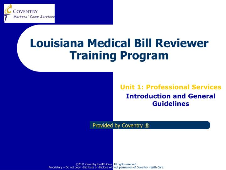 louisiana medical bill reviewer training program n.