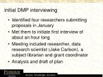 initial dmp interviewing