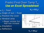 predict final oven temp t io use an excel spreadsheet