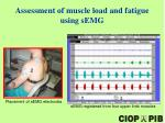 assessment of muscle load and fatigue using s emg