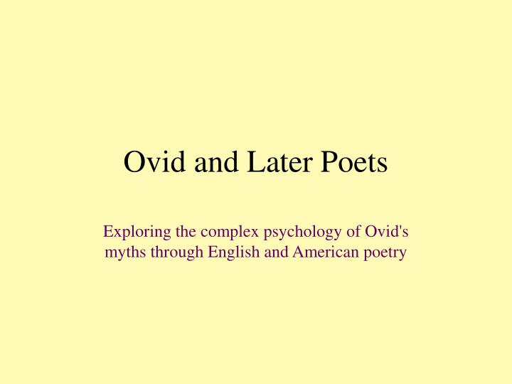 ovid and later poets n.