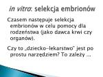 in vitro selekcja embrion w1