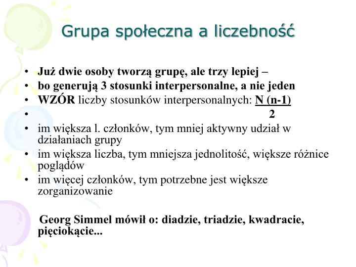 Grupa społeczna a liczebność