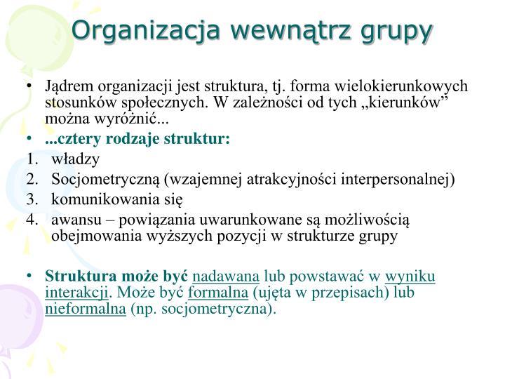 Organizacja wewnątrz grupy