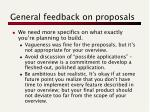 general feedback on proposals