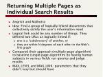returning multiple pages as individual search results