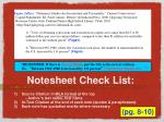 notesheet check list