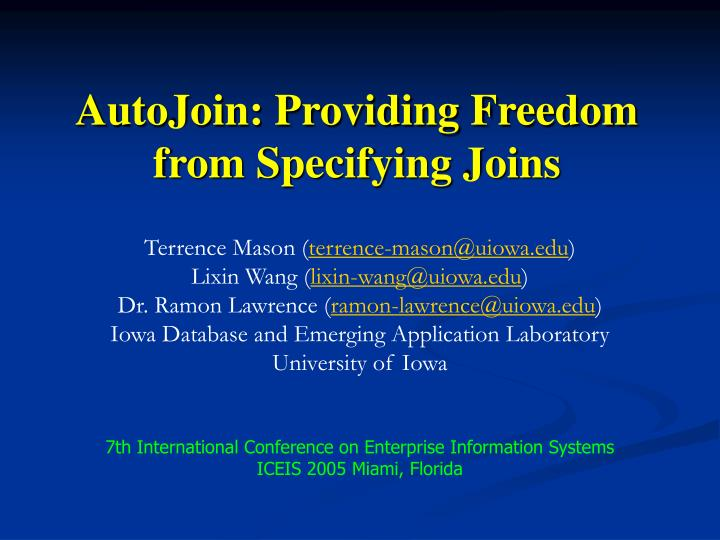 autojoin providing freedom from specifying joins n.