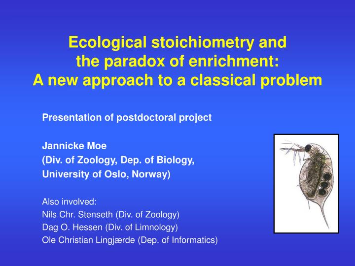 ecological stoichiometry and the paradox of enrichment a new approach to a classical problem n.