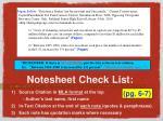 notesheet check list