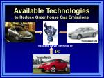 available technologies to reduce greenhouse gas emissions1